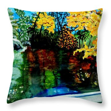 Throw Pillow featuring the painting Brilliant Mountain Colors In Reflection by Lil Taylor