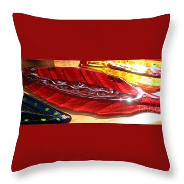 Brilliant Red Feather Glass Dish Throw Pillow by Donna Spencer
