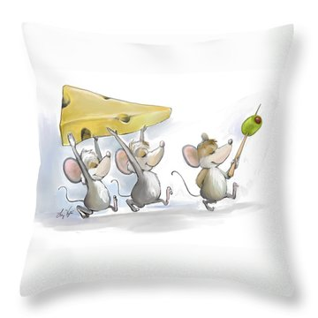 Bringing In The Cheese With Olives Throw Pillow