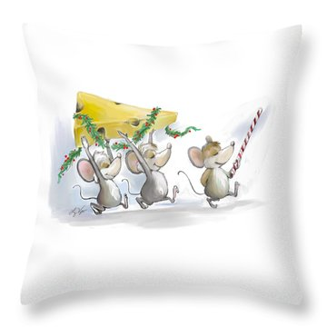 Bringing In The Christmas Cheese Throw Pillow