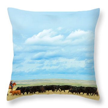 Bringing In The Herd Throw Pillow