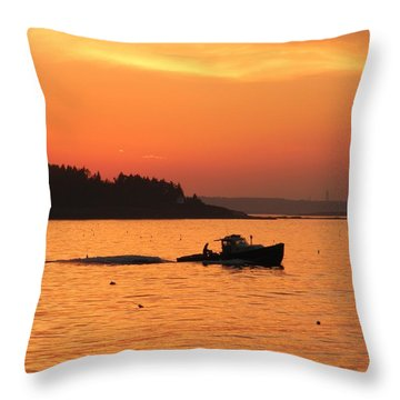 Bringing In The Lobster Pots Throw Pillow by Jean Goodwin Brooks