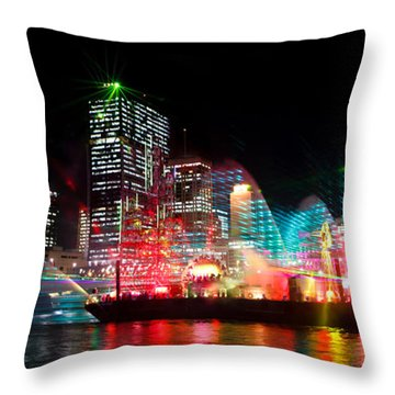 Brisbane City Of Lights Throw Pillow by Peta Thames