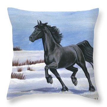 Brisk Trot Throw Pillow by Sheri Gordon