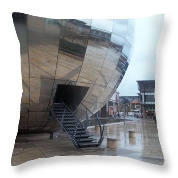 Bristol Alien Landing Throw Pillow by James Potts