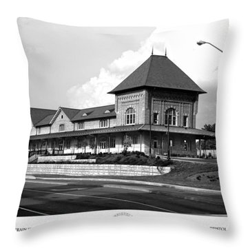Bristol Train Station Bw Throw Pillow