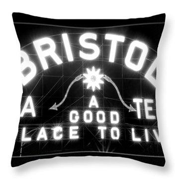 Bristol Virginia Tennesse Slogan Sign Throw Pillow
