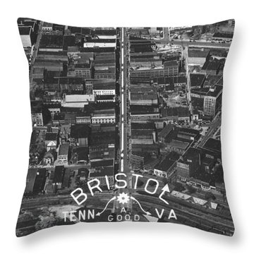 Bristol Virginia Tennessee Early Aerial Photo Throw Pillow