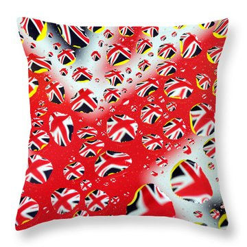 Britain Flag In Water Drops Throw Pillow by Paul Ge
