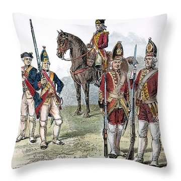 British & Hessian Soldiers Throw Pillow by Granger