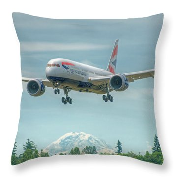 Throw Pillow featuring the photograph British Airways 787 by Jeff Cook