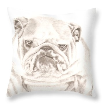 British Bulldog Winnie Throw Pillow