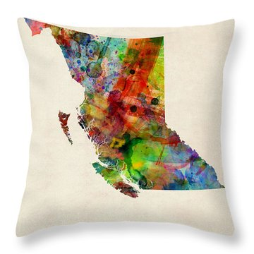 British Columbia Watercolor Map Throw Pillow