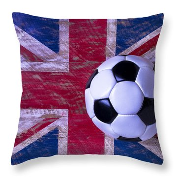 British Flag And Soccer Ball Throw Pillow by Garry Gay