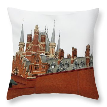 British Library And St. Pancras Throw Pillow by Pat Purdy