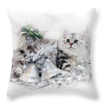 British Longhair Cat Christmas Time Throw Pillow by Melanie Viola