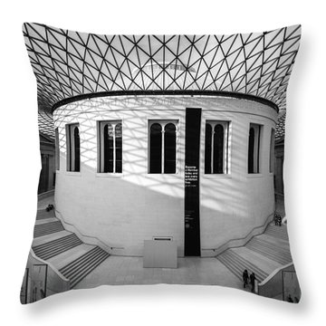 Throw Pillow featuring the photograph British Museum Black And White by Matt Malloy