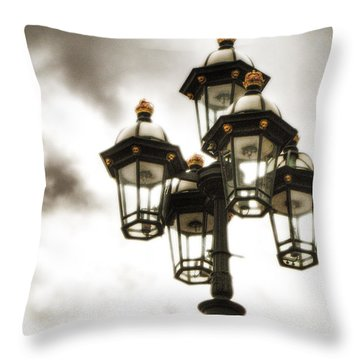British Street Lamp Against Cloudy Sky Throw Pillow