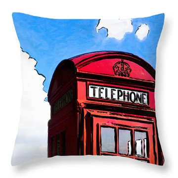 Throw Pillow featuring the photograph British Whimsy - Telephone Box by Mark E Tisdale