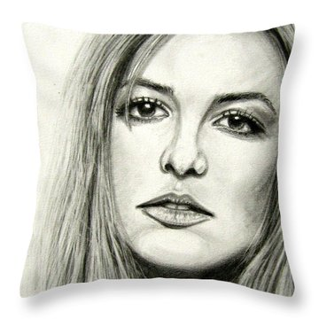 Throw Pillow featuring the drawing Britney Spears by Patrice Torrillo