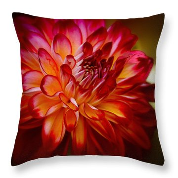 Brittany Red Dahlia Throw Pillow