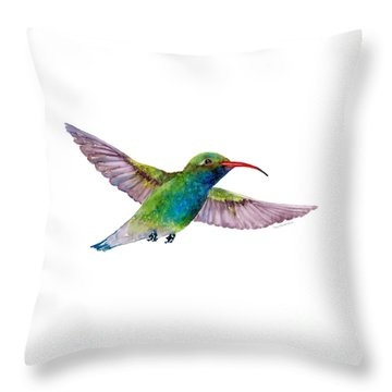 Broad Billed Hummingbird Throw Pillow by Amy Kirkpatrick