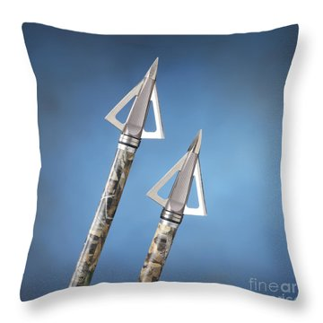 Broadheads On Blue Throw Pillow by Jerry McElroy