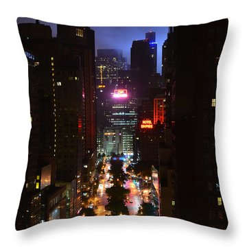 Broadway And 72nd Street At Night Throw Pillow