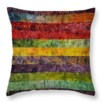 Brocade And Stripes Tower 1.0 Throw Pillow by Michelle Calkins