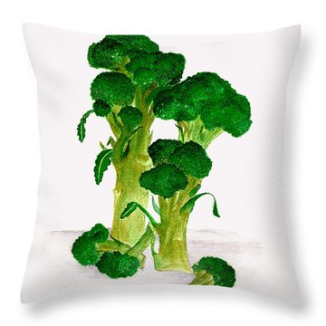 Broccoli Stalks Bright And Green Fresh From The Garden Throw Pillow by Nan Wright