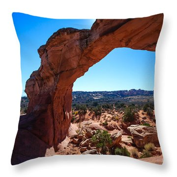 Throw Pillow featuring the photograph Broken Arch Under Blue Sky by Peta Thames