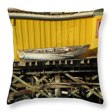 Broken Boat Fisherman's Wharf Throw Pillow