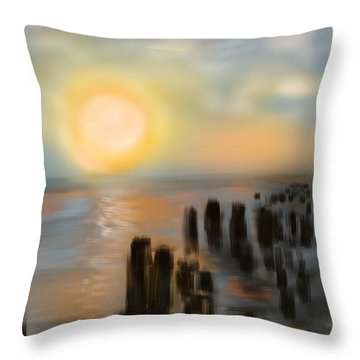 Throw Pillow featuring the digital art Broken Dock by Christine Fournier