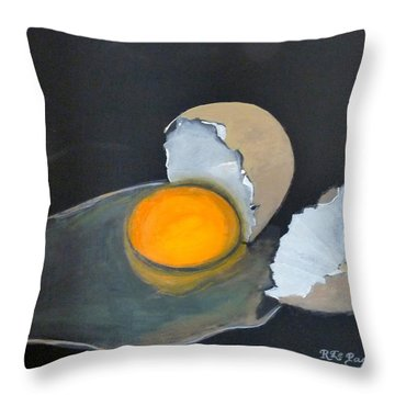 Throw Pillow featuring the painting Broken Egg by Richard Le Page