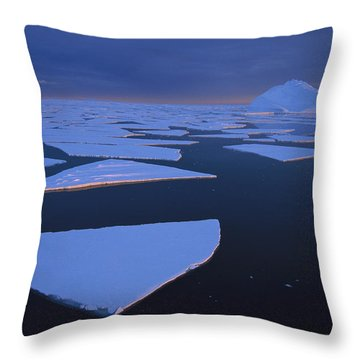 Broken Fast Ice Under Midnight Sun Throw Pillow by Tui De Roy