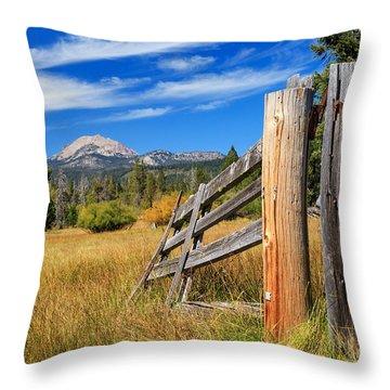 Broken Fence And Mount Lassen Throw Pillow