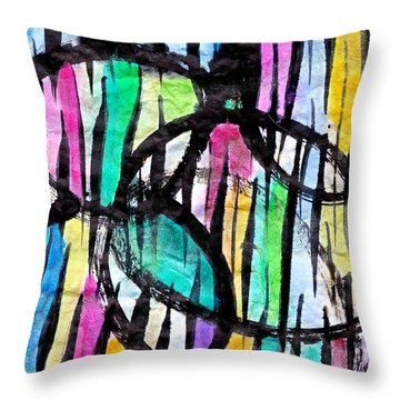 Throw Pillow featuring the painting Broken Fences by Joan Reese