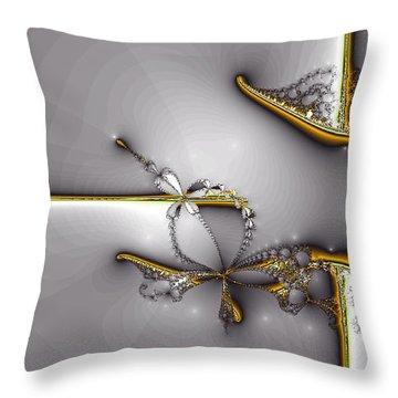 Broken Jewelry-fractal Art Throw Pillow by Lourry Legarde