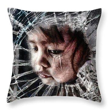 Broken Throw Pillow by Mo T