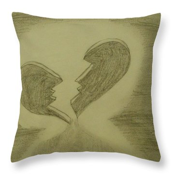 Throw Pillow featuring the drawing Broken by Thomasina Durkay