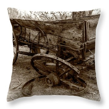 Throw Pillow featuring the photograph Broken Wagon by Jay Stockhaus