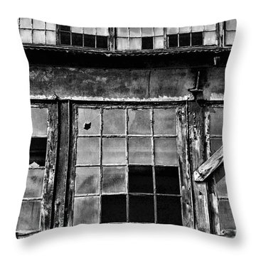 Broken Windows In Black And White Throw Pillow by Paul Ward