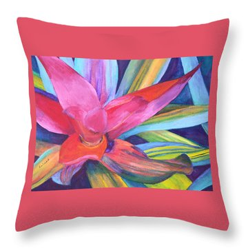 Bromeliad Pink Throw Pillow