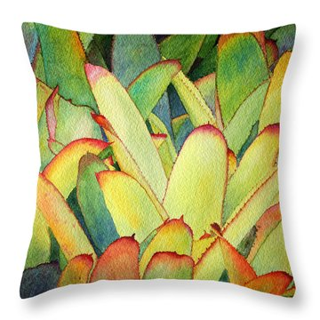 Throw Pillow featuring the painting Bromeliads I by Roger Rockefeller