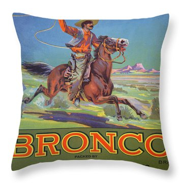 Bronco Oranges Throw Pillow