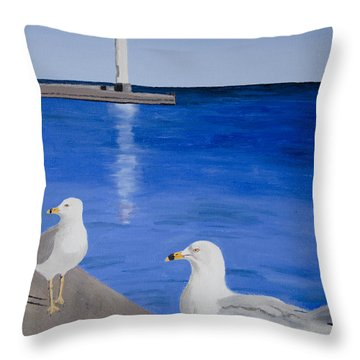 Bronte Lighthouse Gulls In Oil Throw Pillow