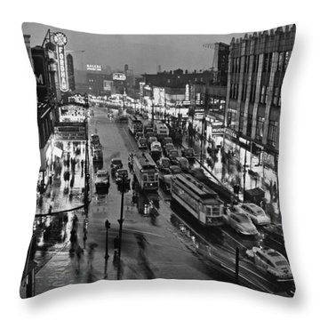 Bronx Fordham Road At Night Throw Pillow