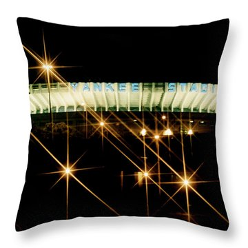 Bronx Night  Iv Yankee Stadium Throw Pillow by Iconic Images Art Gallery David Pucciarelli