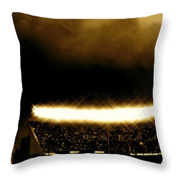 Bronx Storm Yankee Stadium  Throw Pillow by Iconic Images Art Gallery David Pucciarelli