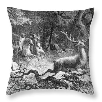 Throw Pillow featuring the photograph Bronze Age, Hunting Scene by British Library